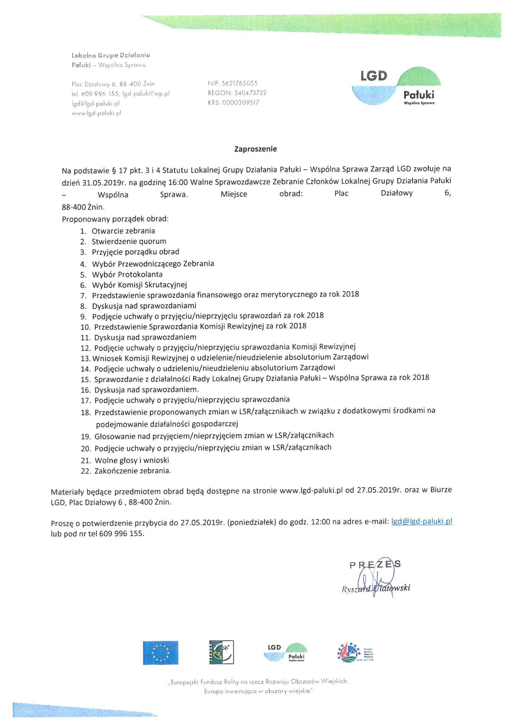 Zaproszenie na Walne Zebranie Członków LGD Pałuki - Wspólna Sprawa